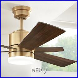 Ceiling Fan With Light Kit LED Indoor Brushed Gold 52in Remote Control Modern