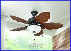 Ceiling Fan With Light Kit Tropical 44 in. Palm Leaf Blades Indoor Outdoor Bowl