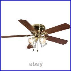 Ceiling Fan w Light Kit Glass Shade 5 Reversible Blades Polished Brass 52 in