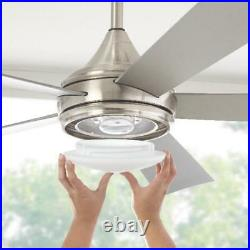 Ceiling Fan w Light Kit Hanlon Dome LED Indoor Outdoor Stainless Steel 52 in