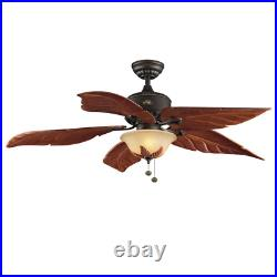 Ceiling Fan w Light Kit LED Feather Wood Blade Alabaster Bowl Decor Bronze 56 in