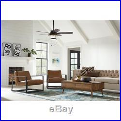 Ceiling Fan w Light Kit Seeded Glass Shanahan LED Reversible Blades Bronze 52 in