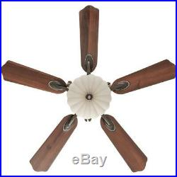 Ceiling Fan w Light Kit and Remote Control Integrated LED Indoor Walnut 52 in