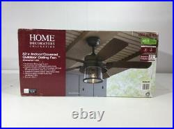 Ceiling Fan with LED Light Kit 52 in. Indoor/Outdoor Bronze Shanahan HDC