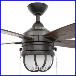 Ceiling Fan with LED Light Kit Indoor Pull Chain Outdoor Natural Iron 52 inch
