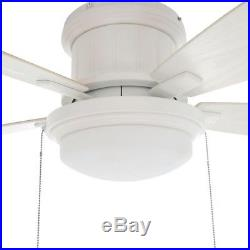 Ceiling Fan with Light Kit 48 in. LED Indoor/Outdoor Matte White Flush Mount