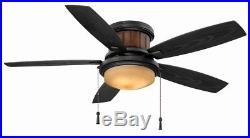 Ceiling Fan with Light Kit 48 in LED Indoor/Outdoor Natural Iron Flushmount Design