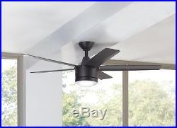 Ceiling Fan with Light Kit 52 LED Indoor Remote Control Flush Mount Matte Black