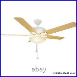 Ceiling Fan with Light Kit 52 in. LED Matte White Holly Springs Hampton Bay