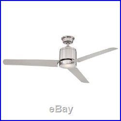Ceiling Fan with Light Kit 60 Brushed Nickel Flush Mount Remote Indoor Downrod