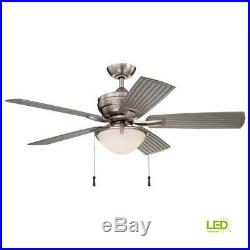 Ceiling Fan with Light Kit Frosted Glass 54 in LED Indoor Outdoor Brushed Nickel