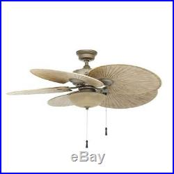 Ceiling Fan with Light Kit LED Indoor Outdoor Cambridge Silver Havana Palm Style