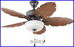 Ceiling Fan with Light Kit Palm Cove 44 in. Indoor/Outdoor Natural Iron Wet Rated