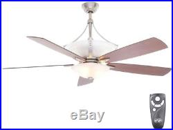 Ceiling Fan with Light Kit Remote Control 60 Inch Indoor Brushed Nickel Frosted