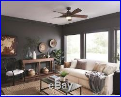Ceiling Fan with Light Kit and Remote 52-in Mediterranean walnut with bronze