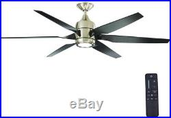 Ceiling Fan with Light Kit and Remote Control 60 Inch LED Indoor Brushed Nickel