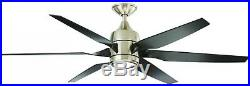 Ceiling Fan withLight Kit Remote Control 60 in. DC Motor Reversible Brushed Nicke