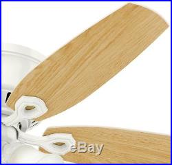 Ceiling Fans Hunter Ceiling Fan Low Profile 52 in. Indoor White with Light Kit