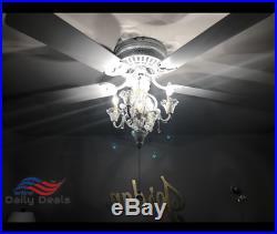 Chandelier Ceiling Fan Light Kit Pull Chain Crystal Candelabra Antique White Fin