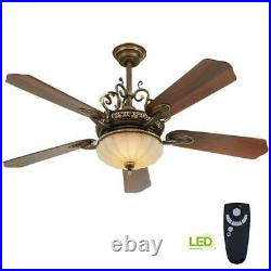 Chateau Deville 52 in. Integrated LED Indoor Walnut Ceiling Fan with Light Kit