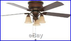 Classic Ceiling Fan with Light Kit Flush Mount 52 in 5 Blade Indoor Berre Walnut