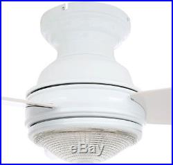 Clear Glass Light Kit White Ceiling Fan Speed Flush Mount Blades Remote Control