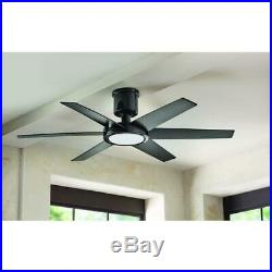 Clermont 52'' LED Indoor Glossy Black Ceiling Fan with Light Kit & Remote Cont HDC
