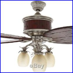 Colonial Bamboo 52 in. Indoor Pewter Ceiling Fan with Light Kit and Remote Contr
