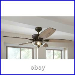 Connor 54 in. LED Bronze Dual-Mount Ceiling Fan with Light Kit and Remote Contro