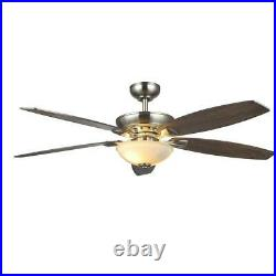 Connor 54 in. LED Satin Nickel Dual-Mount Ceiling Fan with Light Kit and Remote