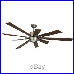 Craftmade Katana 72 Ceiling Fan Kit withLED Light, Pewter, Walnut KAT72PT-72WLN