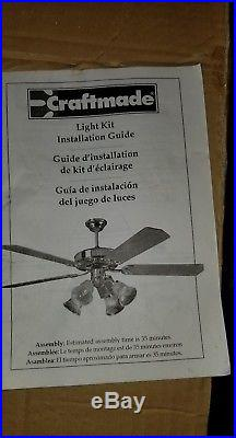 Craftmade LK16 CFL White Glass with Antlers Two Light Ceiling Fan Light Kit