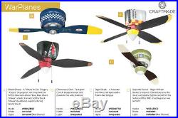 Craftmade WB348TS3 Tiger Shark 48 3-Blade Ceiling Fan withBlades & Light Kit