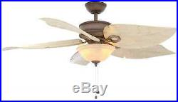 Damp Outdoor/Indoor 56 Wood Ceiling Fan Unique Angel Palm Leaf, Patio Light Kit