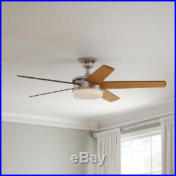 Davrick 52 in. LED Indoor Brushed Nickel Ceiling Fan with Light Kit and Remote