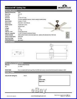 Design House 154419 Indus Sol 48 6 Blade Indoor Ceiling Fan with Light Kit
