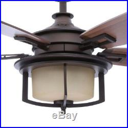 Devereaux II 52 in. Indoor Oil-Rubbed Bronze Ceiling Fan with Light Kit and Remo