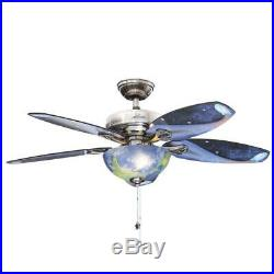 Discovery 48 in. Indoor Brushed Nickel Ceiling Fan with Light Kit Outer Space