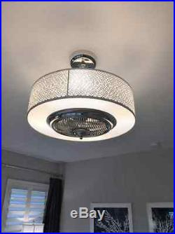 Drum Ceiling Fan Bladeless Modern Light Kit Entryway