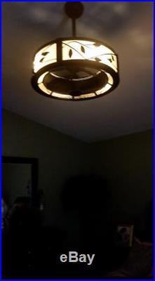 Drum Ceiling Fan Chandelier Pendant Cage Light Kit + Remote Unique Casual Cabin