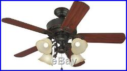 Edenton 52 In Aged Bronze Indoor Downrod Close Mount Ceiling Fan Light Kit New