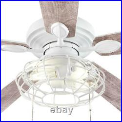 Ellard 52'' LED Matte White Ceiling Fan with Light Kit by Home Decorators Collect