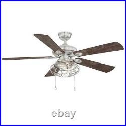 Ellard 52 in. LED Brushed Nickel Ceiling Fan with Light Kit by Home Decorators