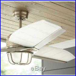 Escape II 60 in. LED Indoor/Outdoor Brushed Nickel Ceiling Fan with Light Kit