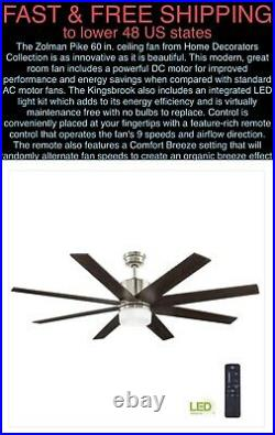 FREE SHIP Zolman Pike 60 LED DC Brushed Nickel Ceiling Fan withLight Kit/Remote
