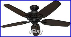 Fairhaven Ceiling Fan with Light Kit 52 in. Indoor Basque Black Remote Control