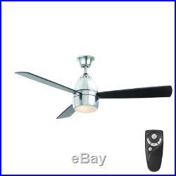 Fancy Liquid Chrome 52 Ceiling Fan + Remote LED Light Kit Office Loft Fixture