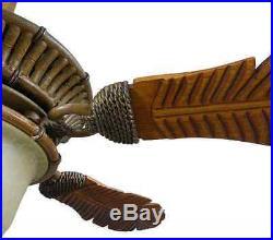 Fancy Wood Palm Leaf 54 CEILING FAN + REMOTE Elegant Unique Old World Light Kit