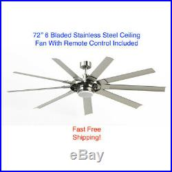 Fanimation 72 inch Brushed Nickel Ceiling Fan 9 Blade LED Light Kit and Remote