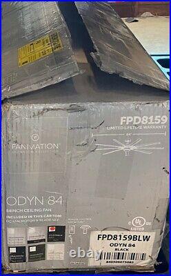 Fanimation FPD8159BLW 84 Inch Odyn Ceiling Fan with LED Light Kit, Black